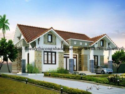 Mẫu biệt thự vườn 1 tầng mái thái ấn tượng tại Phú Thọ