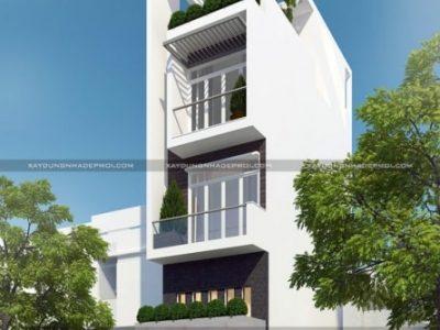 Ấn tượng với mẫu nhà phố đẹp 5 tầng 4 phòng ngủ 1 gara