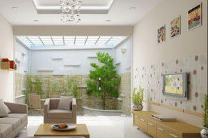 Mẫu thiết kế giếng trời cho phòng khách hiện đại và sang trọng