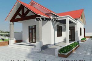 Thiết kế nhà cấp 4 mái thái đơn giản 7x14m