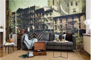 Tạo điểm nhấn ấn tượng cho mẫu phòng khách với tranh dán tường