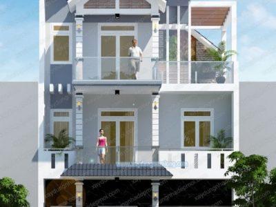 Mẫu thiết kế nhà đẹp 1 trệt 2 lầu có tầng hầm tại Bình Phước